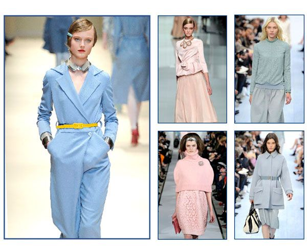 Pastel temptation  Pastels certainly brighten up a winter's day. Ultrafeminine and chic, soft shades of blue and pink will conquer wardrobes. Lush sweaters and coats will be complemented with bags and belts.