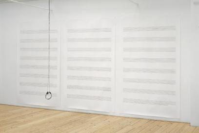 Incidental music 1997 Newspaper cuts on paper, CD, CD players, headphones. 130 x 500 x 150 cm.