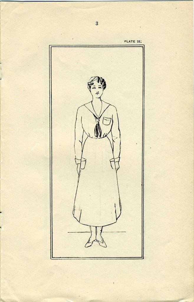 US Navy Reserve Force, Yeoman F, Uniform Regulations. WWI  Page 3 drawing of obverse view of uniform.   Collection of Curator Branch Naval History and Heriatge Command Collection of Navy  Department Library.