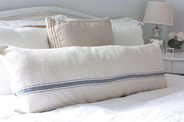 Beige, Blue Ticking Grain Sack, Feed Sack Style, Couch or Bed Pillow Cover, 15x30 Farmhouse Pillow, Rustic Bed Pillows, Vintage Pillow by EclecticHomeMarket on Etsy https://www.etsy.com/listing/507407194/beige-blue-ticking-grain-sack-feed-sack