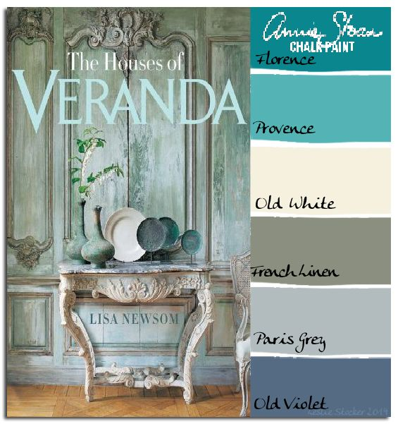 COLORWAYS Beautiful paneling is obtainable with Annie Sloan Chalk Paint. Although the prominent overall color is green, notice the additional colors. Old Violet, Paris Grey, and French Linen can be mixed and layered to create the aged appearance of the walls, console table, and chair.