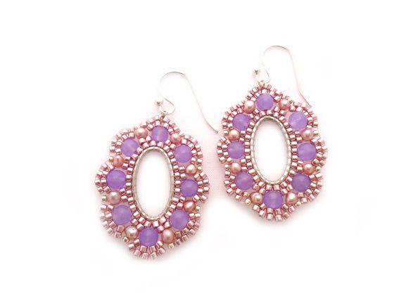 Purple Jade Earrings Bridal Dangle Drop Earrings Gemstone