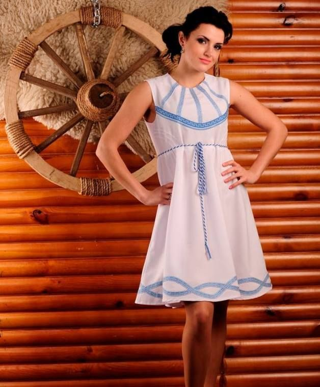 Shift Dresses – White Summer Dress – a unique product by Ukrainian_Embroidery on DaWanda. This is a lightweight summer garment with a true romantic vibe. The dress features light blue embroidered decorations on the bust and hem. A-line billowy silhouette adds curves to any frame giving an outfit a seductive feminine nature. This demure piece exudes unique charm and womanly elegance. @Ethnic_fantasy vyshyvanka