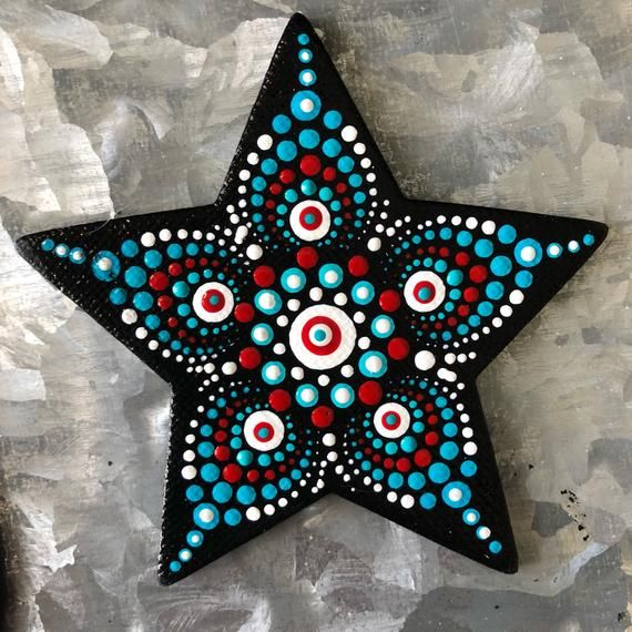 3 Star Shaped Magnet Painted With An Original Dot Mandala In Red White And Turquoise Dot Art Painting Mandala Painted Rocks Christmas Mandala