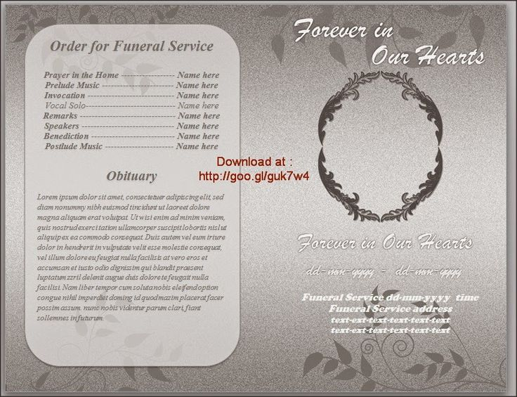 79 best Funeral Program Templates for MS Word to Download images - memorial service template word