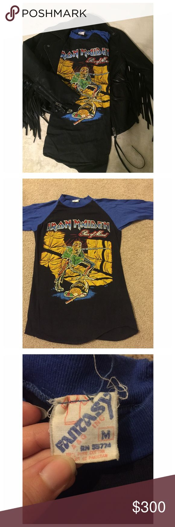 iron maiden tee all band tees are true vintage. my dad had either purchased at concerts he attended or was given them for working at the concerts themselves. all are in excellent vintage condition with the exception of a few that were truly loved. you have any questions please leave a comment.   all items are cheaper if bundled.  no trades and i will not try on.  thanks and happy shopping. Vintage Tops Tees - Long Sleeve