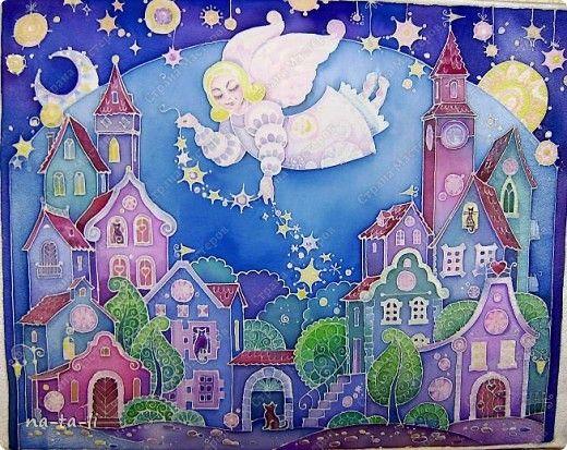 Картина панно рисунок Батик ангел снов батик Краска фото 1