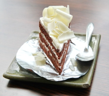 Heaven Cake with dark chocolate filling and white chocolate ganache :)