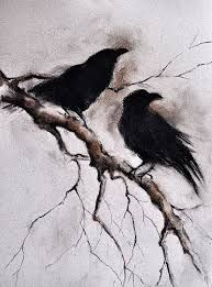 skeleton with crow standing on shoulder drawing - Google Search