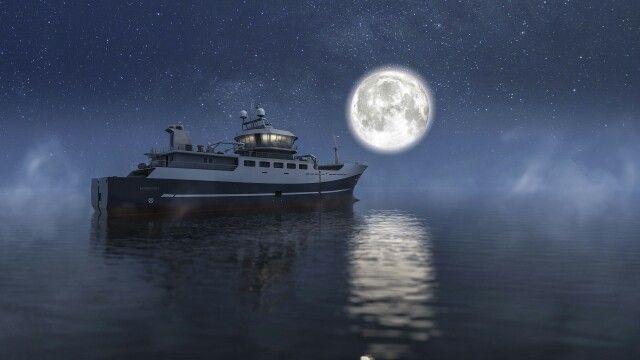 Fishing vessel designed in NX. Model courtesy of Skipsteknisk. Rendered in KeyShot 5.
