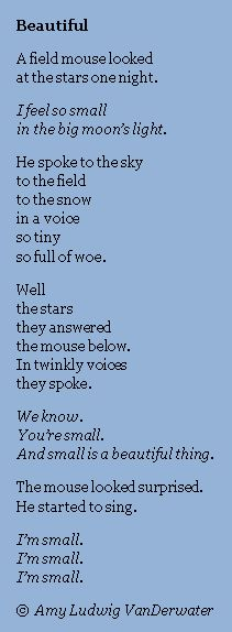 This poem is from The Poem Farm, author Amy Ludwig VanDerwater's ad-free, searchable site full of hundreds of poems, poem mini lessons, and poetry ideas for home and classroom - www.poemfarm.amylv.com