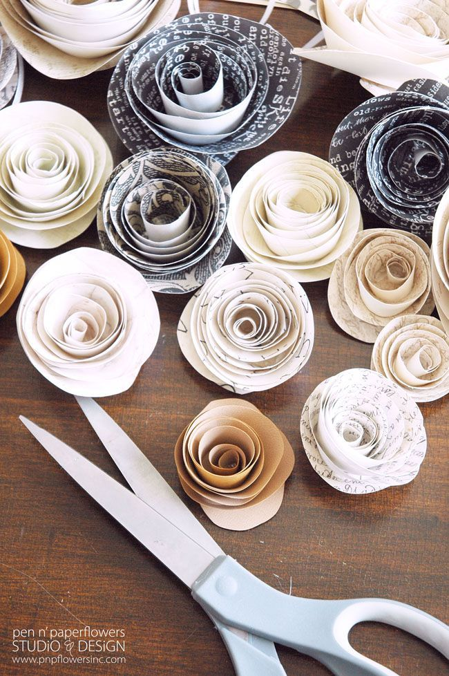 I love that you don't need any special tools to create these amazing paper flowers - a little scrapbook paper, scissors and imagination and you're good to go. I can think of a million fun handmade gift ideas featuring these paper flowers.