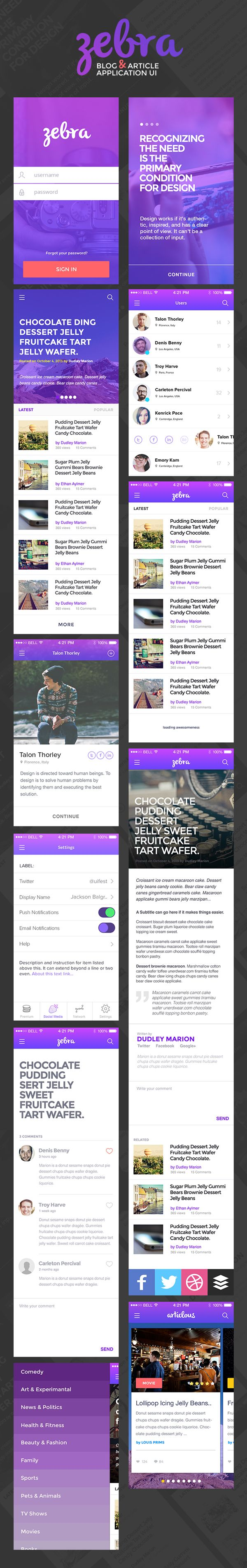 Zebra is a modern UI design concept for a blog or article app that includes more than 10 screens such as log in, article list...