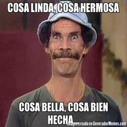 COSA LINDA, COSA HERMOSA COSA BELLA, COSA BIEN HECHA...   - Don Ramon 2 meme