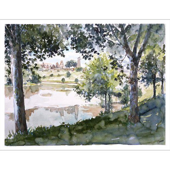 Aquarelle Originale Sous Bois Tableau Chateau France Peinture