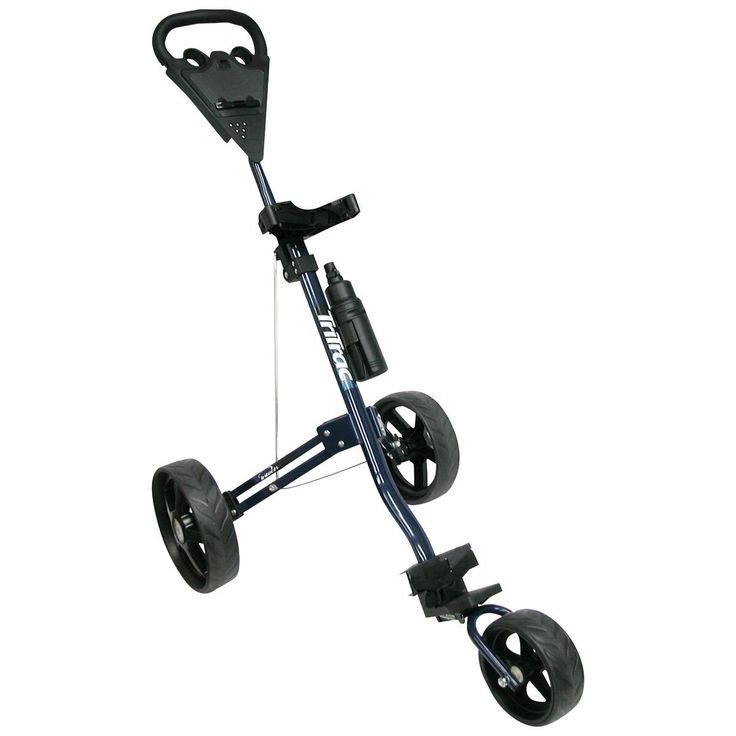 Featuring nylon bag straps with snap-lock buckles these tri trac 3-wheel golf pull carts by Intech offer a one-year limited warranty