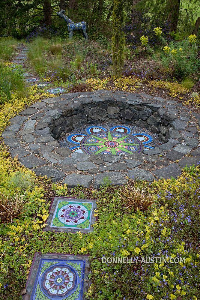 Garten, rund, Brunnen, Platte, Tische