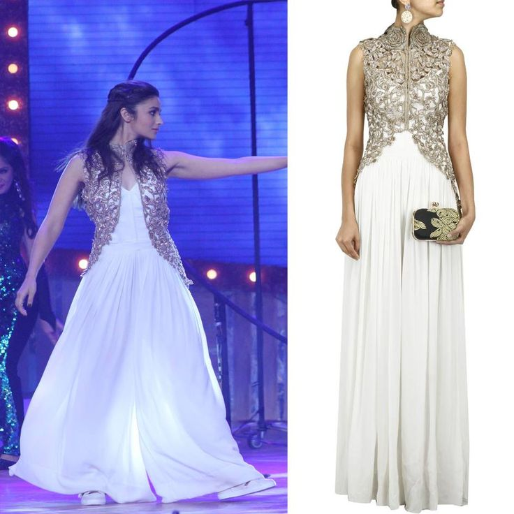 Get This Look Alia Bhatt Looks Amazing In This White Georgette Palazzo Jumpsuit Gold