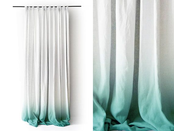 White Linen curtain panel Ombrè Mint fade to white. Pinch pleat Number 3 by Lovely Home Idea. on Etsy, £127.69