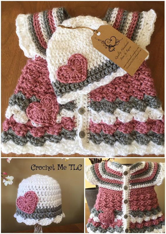 A beautiful set with a button up cardigan and coordinating hat. Custom colours - just contact me with preferences. ♥ 100% Acrylic - made with a very silky soft yarn ♥ Size - fits newborn to 3 months ♥ Item will be made especially for you, so please check my Shop Policies or contact