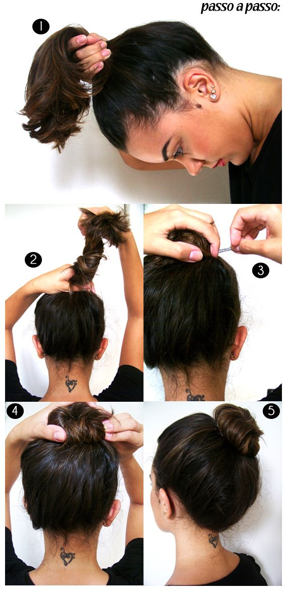 O coque bagunçadinho | Stylish hair, Short hair bun, Short hair styles