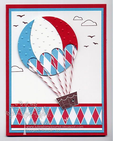 """Hot Air Balloon by Julie Arvin, Stamps: Sweet Centers & Up, Up & Away Paper: Real Red, Tempting Turquoise, Whisper White & Big Top Birthday DSP Ink: Chocolate Chip Other: Big Shot, Perfect Polka Dots EF, 2 1/2"""" circle punch, Cherry Cobbler Baker's Twine, Basic Rhinestones & Stampin' Dimensionals©"""