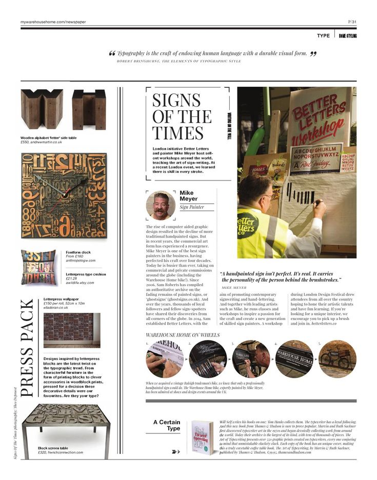 Warehouse Home Issue Three | Letterpress design | Letterpress furniture | Signwriting | Signwriting artists | Better Letters | Mike Meyer | Mike Meyer signwriting | Ghostsigns | Vintage signs | Industrial crafts | Traditional crafts