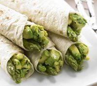 Avocado, Basil and Asparagus Roll Ups...1 Avocado  Fresh basil  Flatbread (lavish or tortilla is best)  2 Asparagus  Olive oil  Lemon juice (to taste)  Salt and pepper (to taste)