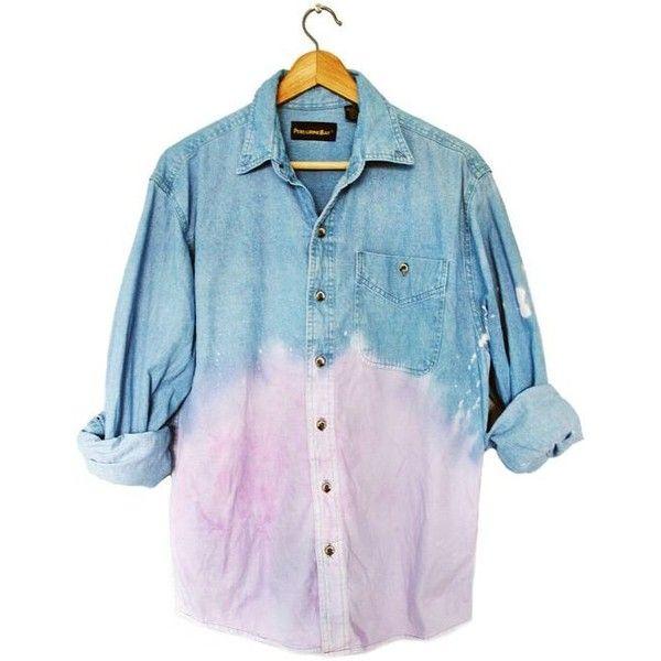 90s Grunge Unisex Pastel Purple Dip Dye Ombre Denim Long Sleeve Shirt... ❤ liked on Polyvore featuring tops, long sleeve shirts, blue denim shirt, long sleeve tops, purple long sleeve shirt and blue shirt