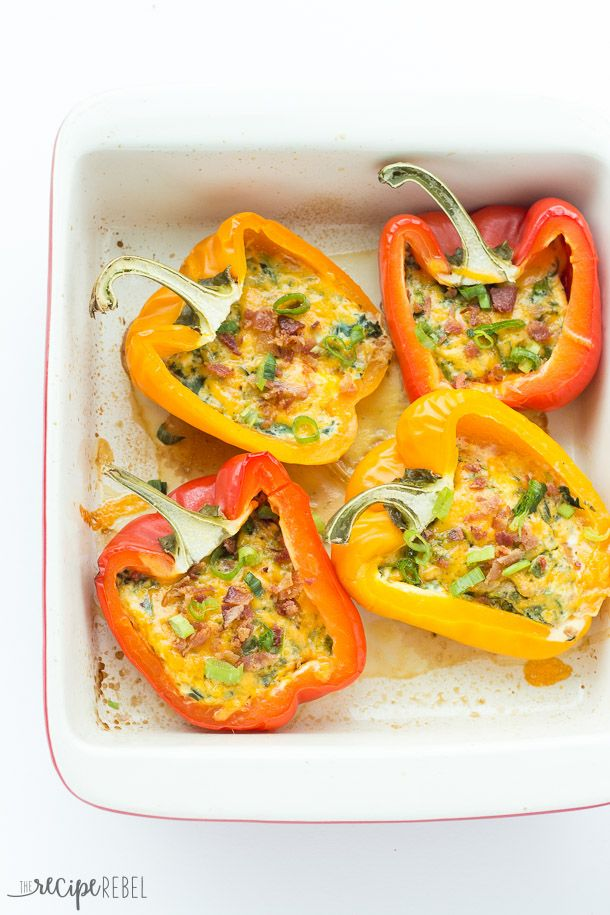 Breakfast Stuffed Peppers: Breakfast Stuffed Peppers with cheese, bacon and spinach (or use whatever fillings you like!) -- cook them in the oven or the slow cooker! A great, healthy breakfast, lunch or dinner. www.thereciperebel.com
