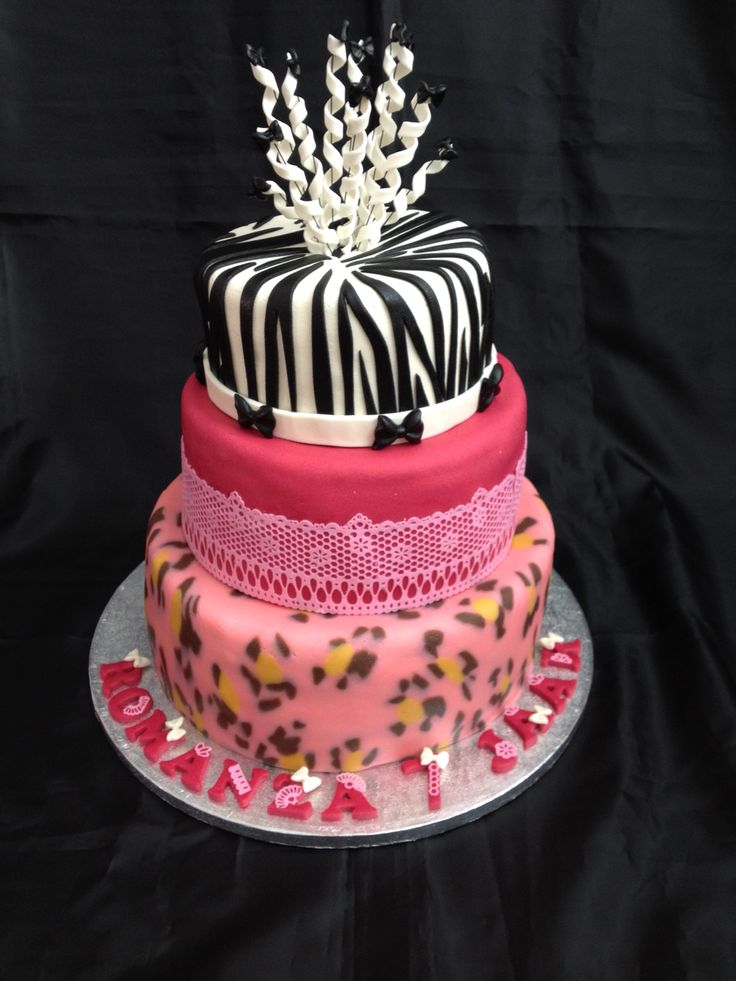 Luipaard, zebra, roze, te gekke taart.