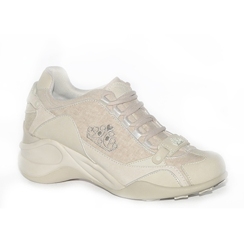 Sneakers con zeppa media in camoscio e tessuto beige