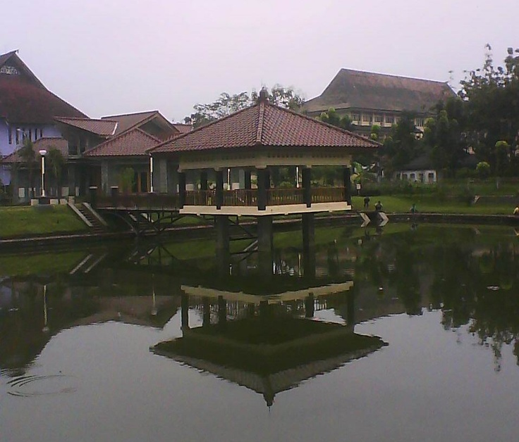 This mini lake is one of some landmarks in Semarang State University, Semarang, Indonesia. Photographed in a cloudy morning.