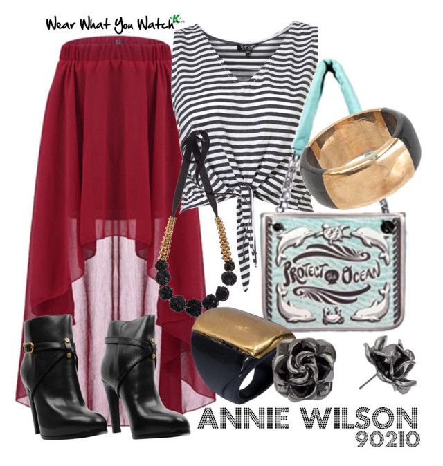 90210's Annie Wilson by wearwhatyouwatch on Polyvore featuring polyvore, fashion, style, Tory Burch, Marni, mel, clothing, cocktail rings, charity, cropped shirts, booties, rosette, shenae grimes, 90210 and bracelet