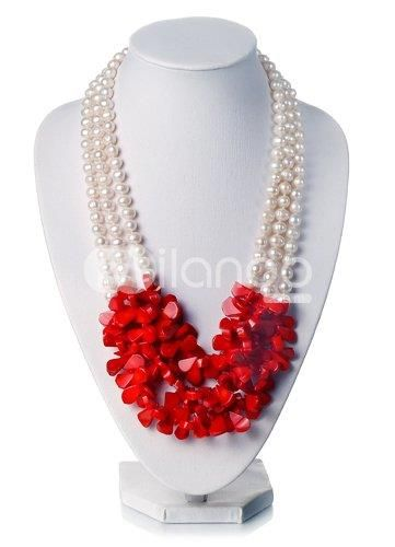 Gorgeous White 7-8mm Freshwater Pearl Irregular Red Coral Necklace.