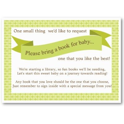 Neutral Baby Shower Book Insert Request Card Green