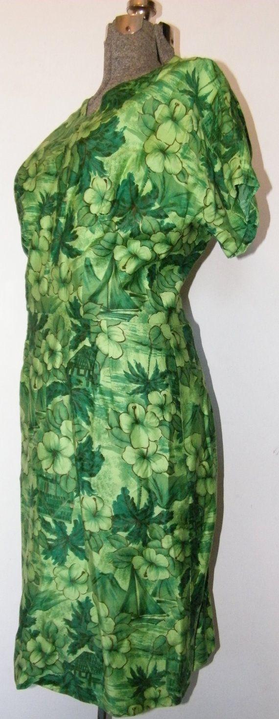 1950's Green Hawaiian Bombshell Dress Rare by OrchidRoomVintage
