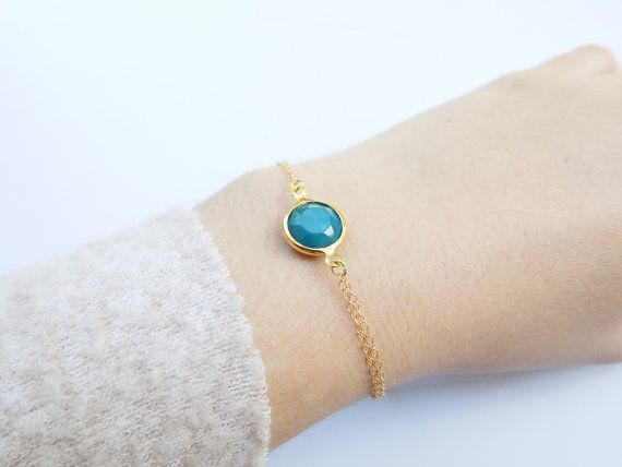 Gold Dainty Gem Bracelet 14k Gold Filled Bracelet by ArroseJewelry