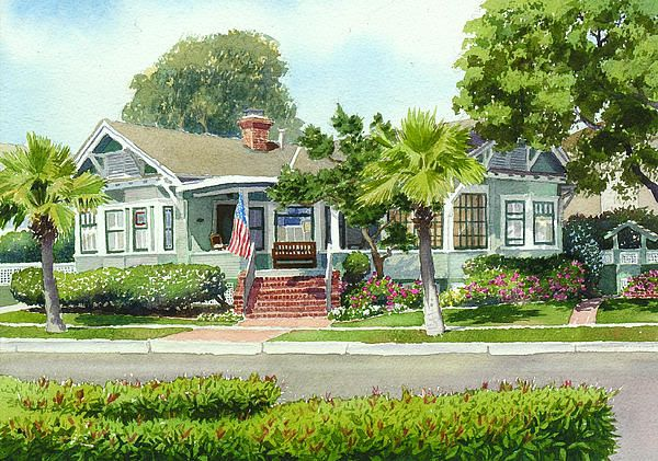 Coronado Craftsman House by Mary Helmreich - Coronado Craftsman House Painting - Coronado Craftsman House Fine Art Prints and Posters for Sale