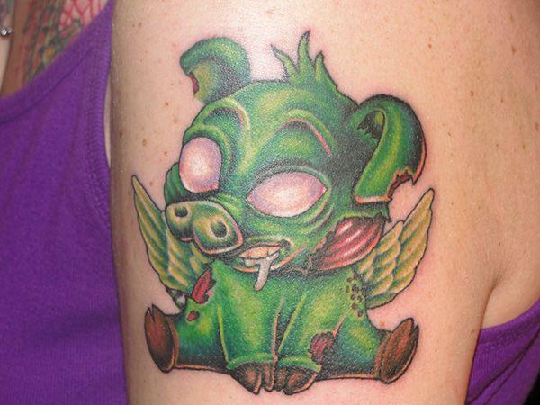zombie flying pig tattoo 25 Interesting Pig Tattoos