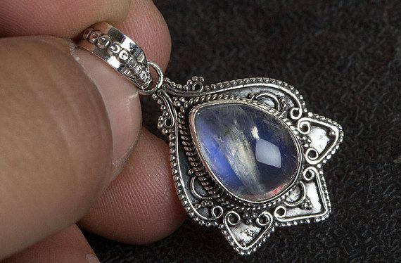 Blue Flash Moonstone Pendant Boho Pendant Rainbow Moonstone