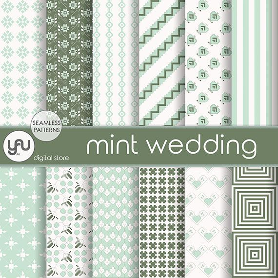 "Wedding digital paper: ""MINT WEDDING"" with mint wedding digital seamless patterns, mint invitation, wedding scrapbook paper for scrapbooking #Craft #Supplies #Scrapbooking  #Paper #wedding #digital #scrapbook #mint #green #ivory #seamless #pattern #invitation #geometric #background"