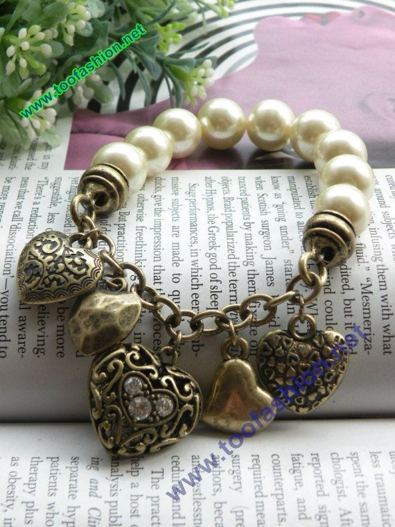 Retro copper hollow carved 5 hearts shaped pearl beads bracelet vintage style