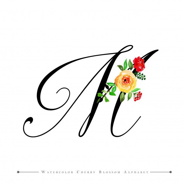 Letter M Watercolor Floral Background Premium Vector In 2020 M Letter Design Tattoo Lettering Styles Lettering Alphabet Fonts