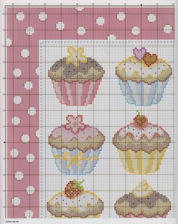 La Cute Artesana: Cupcakes en punto de cruz