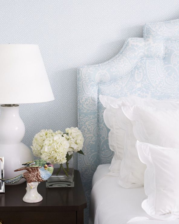 China Seas Java Java Aqua on White Wallpaper lined with a white and blue headboard upholstered in Veneto Pale Aqua on White Fabric on bed