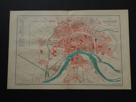 TOULOUSE old map of Toulouse 1896 original by DecorativePrints