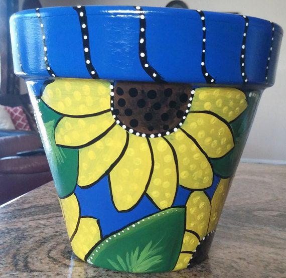 Hey, I found this really awesome Etsy listing at https://www.etsy.com/listing/240279185/sunflower-pot-teal-flower-pot-hand