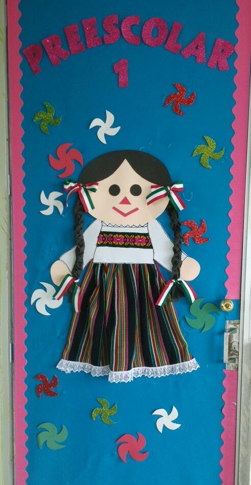 Puerta decorada de fiestas patrias/mexican classroom door decoration