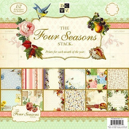 """DCWV 12""""x12"""" Designer Stack with Glitter - Four Seasons - 48 Sheets"""
